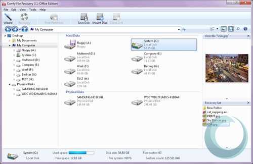 Click to view Comfy File Recovery 3.1 screenshot